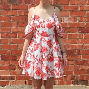 DO + BE White & Red Embroidered Off Shoulder Dress